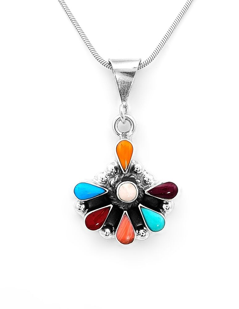 Sterling Silver Southwestern Multi Color Pendant Jewelry