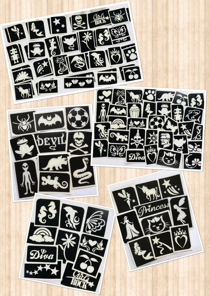 glitter tattoo mixed stencil packs boys girls sets reusable stencils ebay. Black Bedroom Furniture Sets. Home Design Ideas