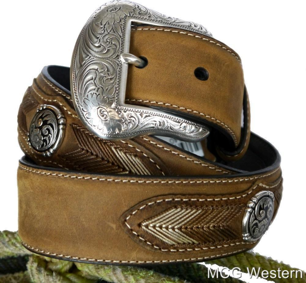 nocona western mens belt leather laced conchos brown
