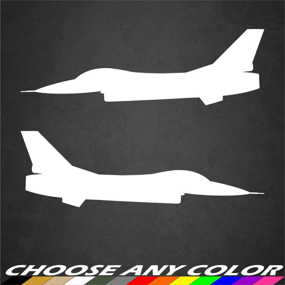 2 USAF F-16 Aircraft Stickers Side View Military Graphics ...