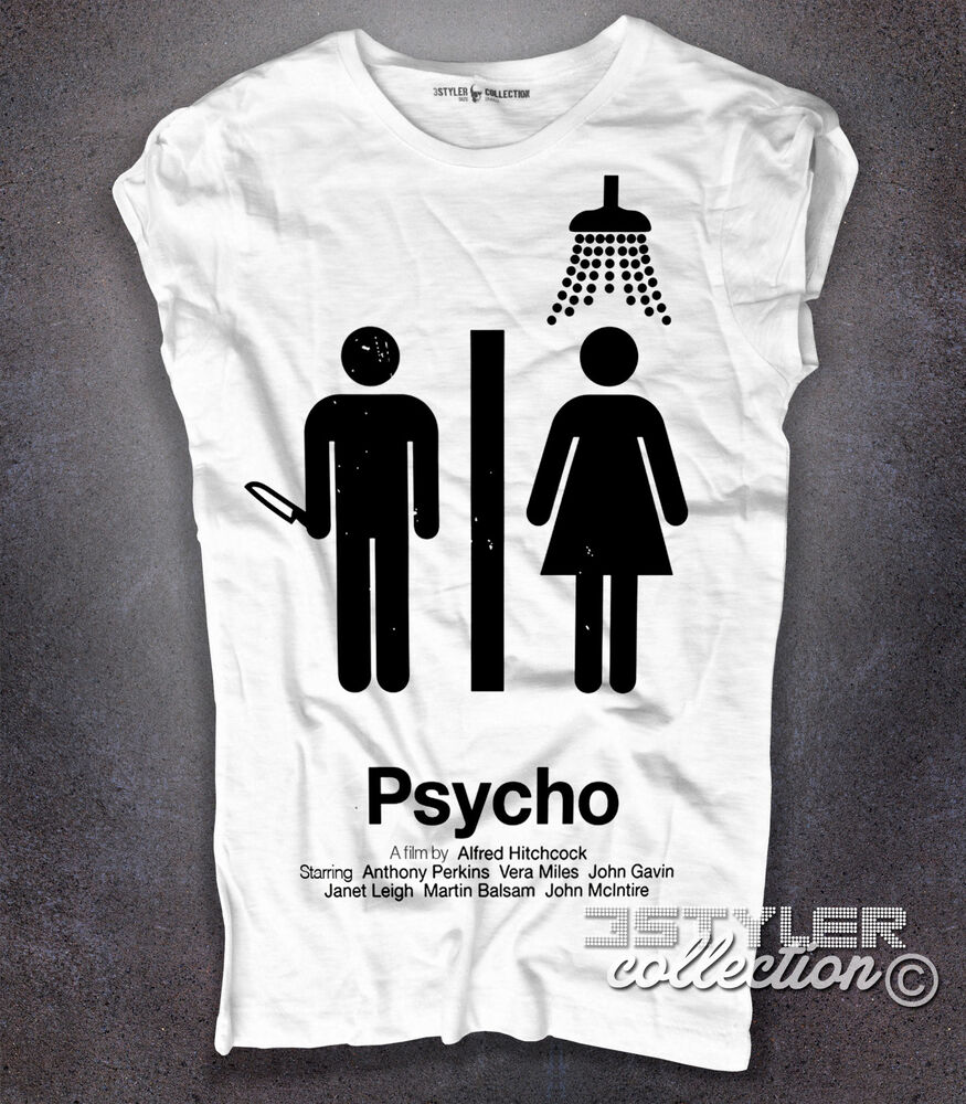 T Shirt Donna Bianca Psycho Psyco Di Alfred Hitchcock
