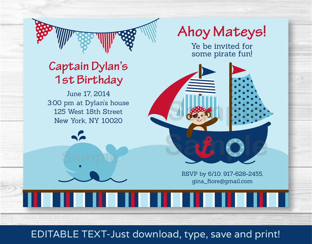 pirate monkey nautical whale printable birthday invitation