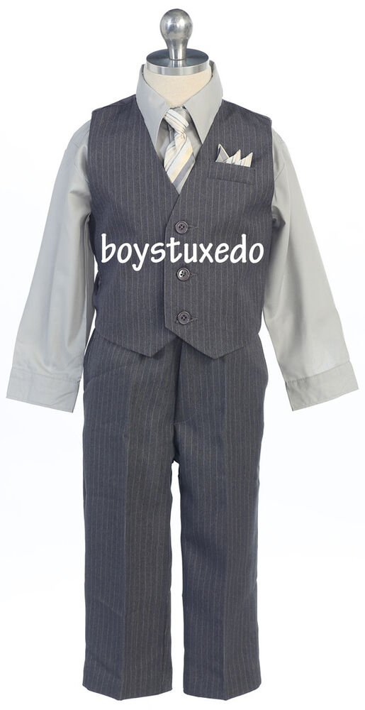 Boy S Grey Gray 4 Piece Pinstripe Suit Formal Vest Silver