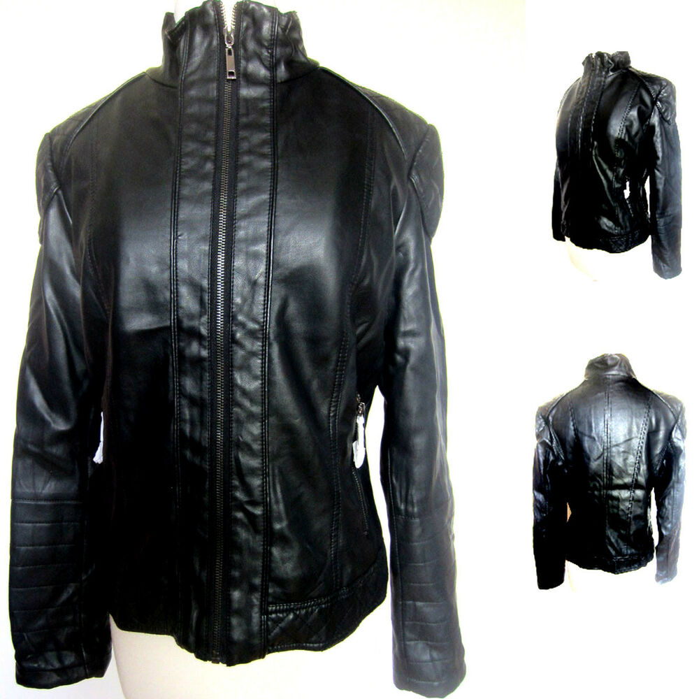 Leather jacket with fur inside