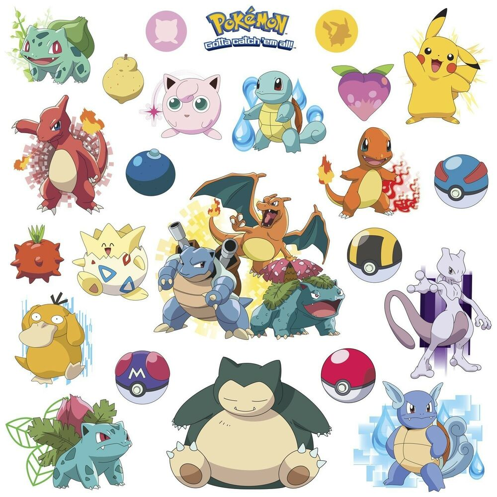 POKEMON ICONIC 24 Wall Decals Room Decorations Pikachu