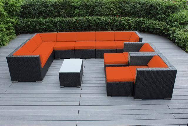 Outdoor Patio Wicker Furniture 12pc Gorgeous Couch Set Orange