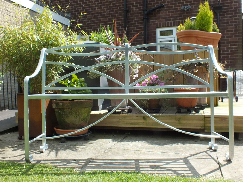 Wrought Iron Bench Galvanised Heavy Metal Garden Furniture