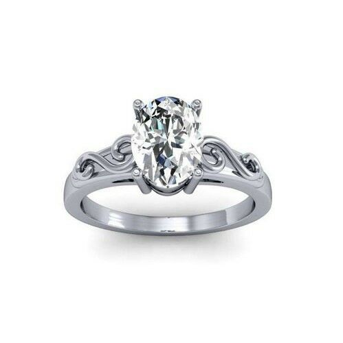 Oval Scroll Engagement Rings