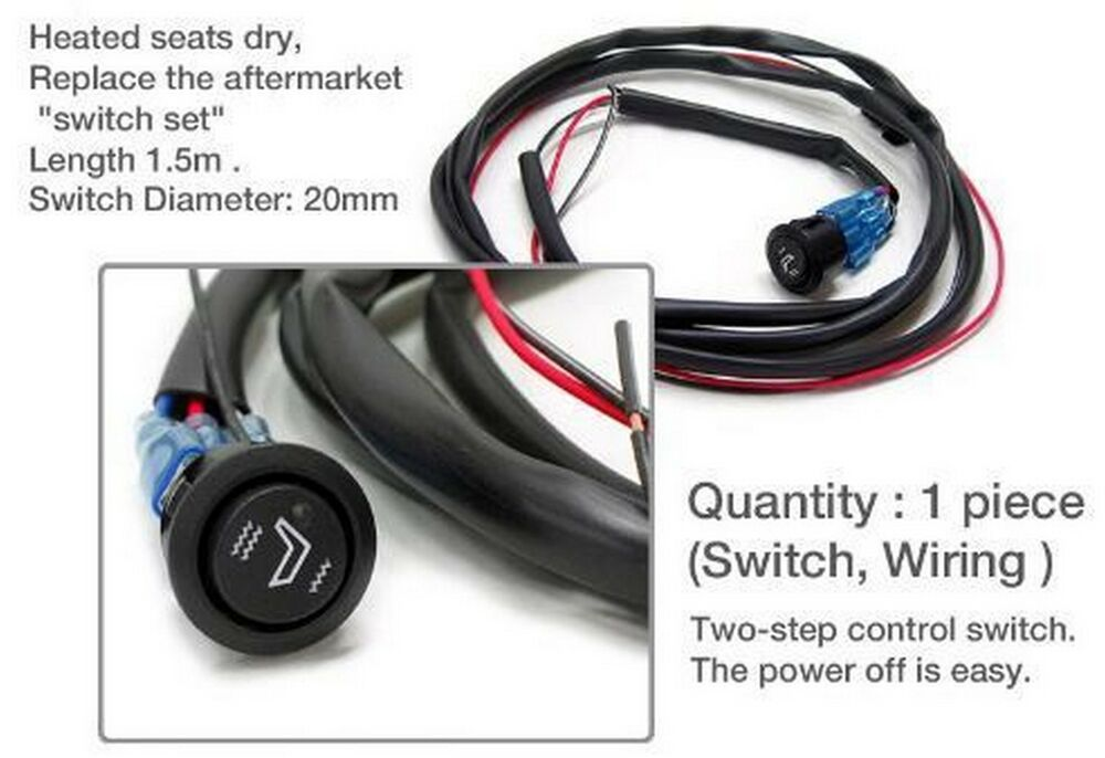 Details About Universal Heated Seat Switch 1ea 3 Way Led Diameter 20mm Length 1 5m