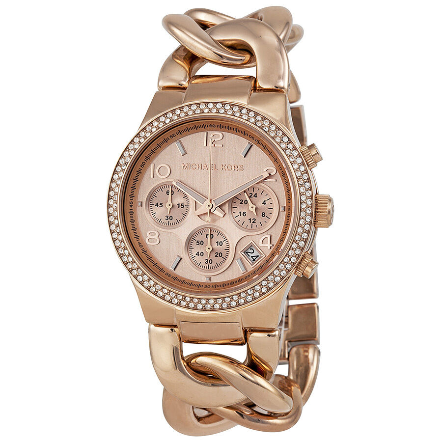 michael kors chronograph rose gold ion plated ladies watch. Black Bedroom Furniture Sets. Home Design Ideas