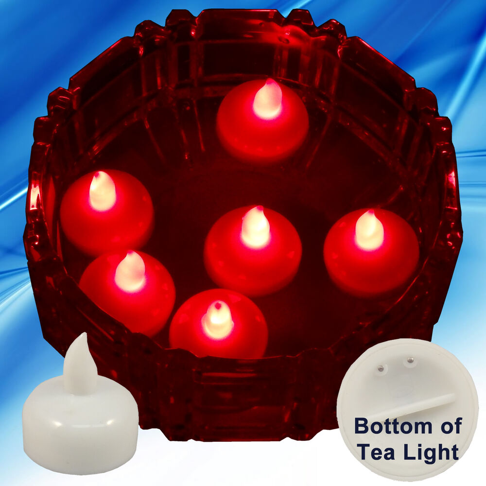 New red led floating floral tea light candle for