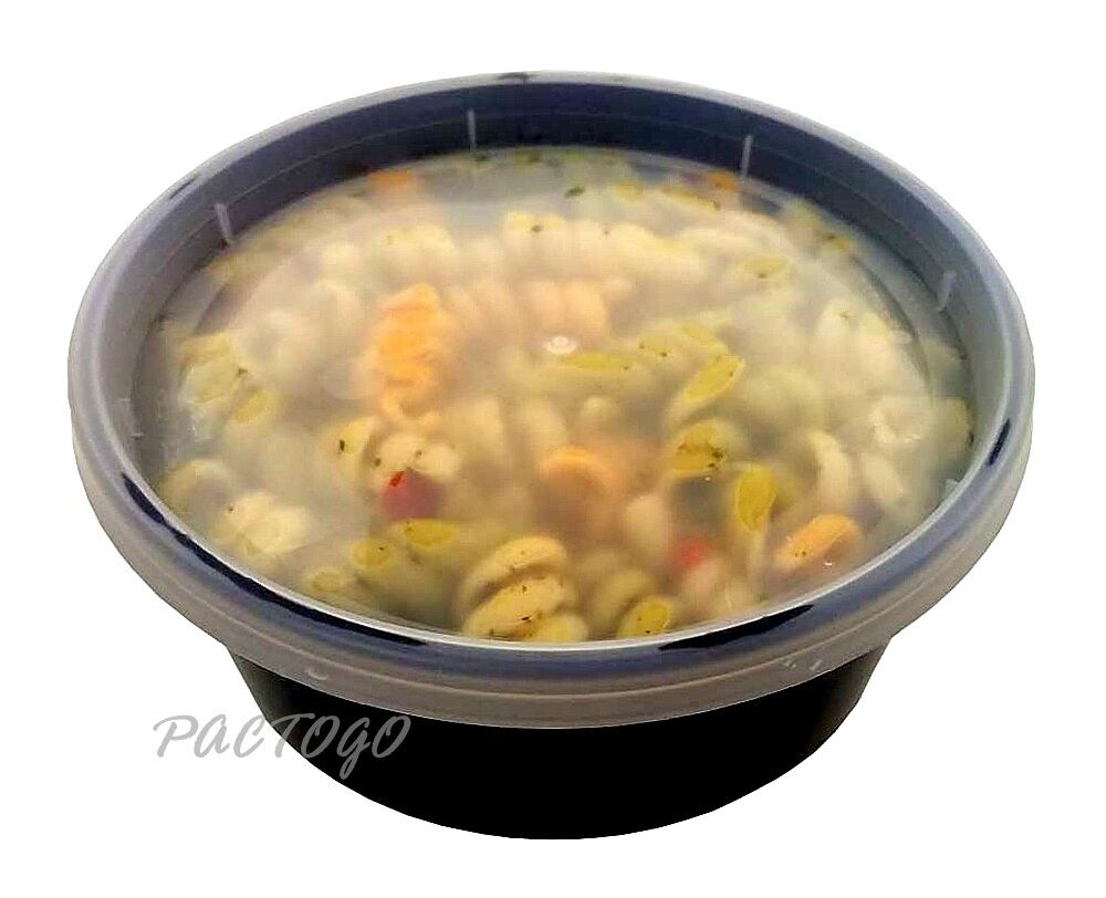 8 Oz Black Delitainer Plastic Freezer Food Deli Soup