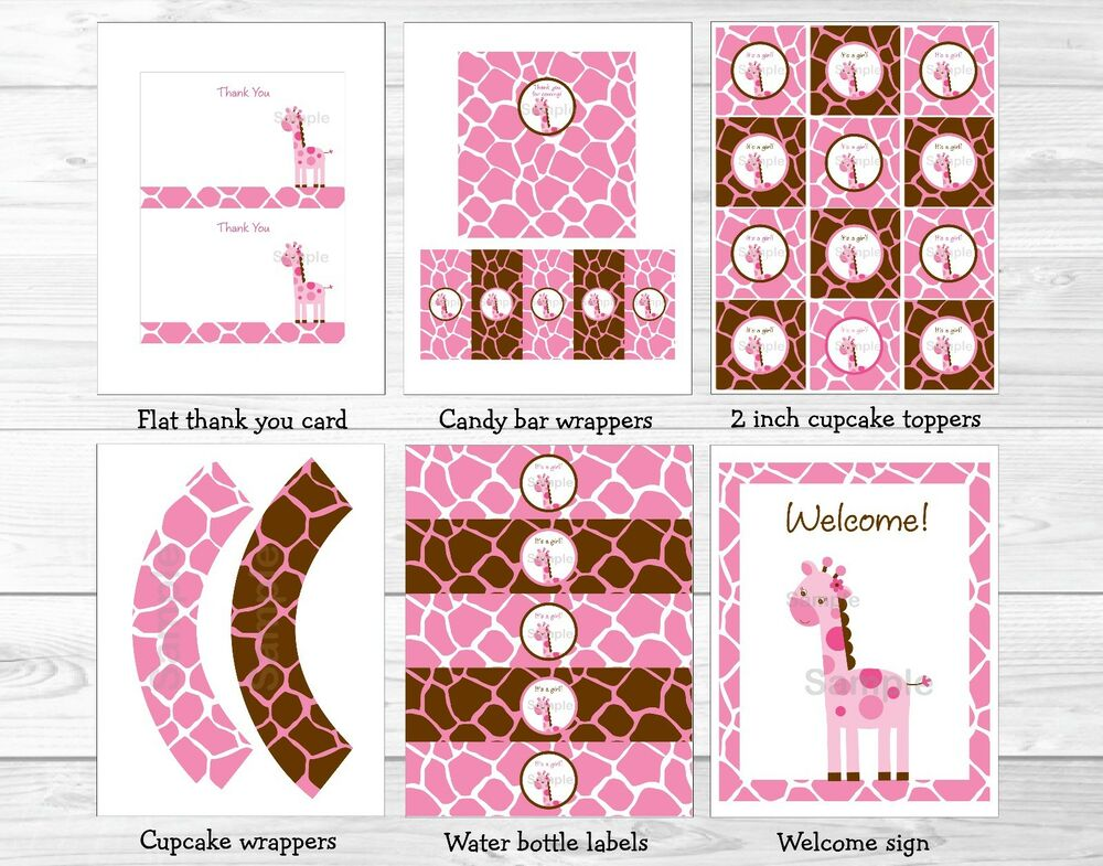 Pink giraffe printable baby shower party package ebay for Baby shower decoration free