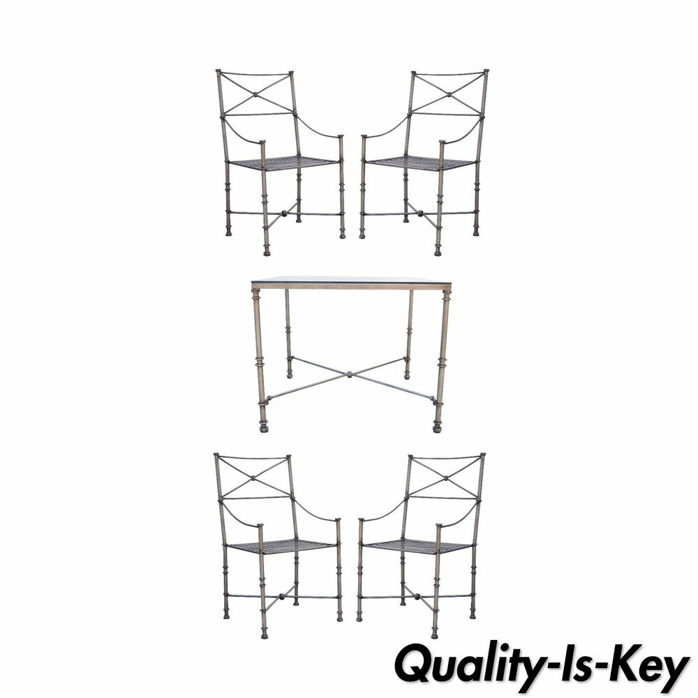 Pier 1 Imports Medici Collection Metal Dining Set Square Table 4 ...