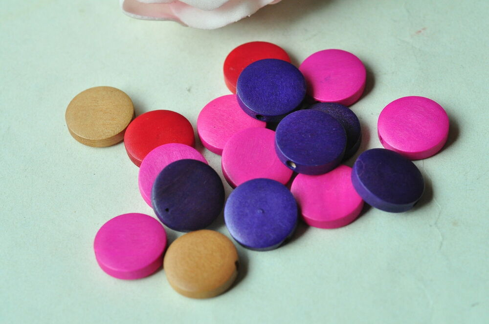 30pcs 15mm Round Wooden Bead Disc Flat Disk Natural Wood Necklace
