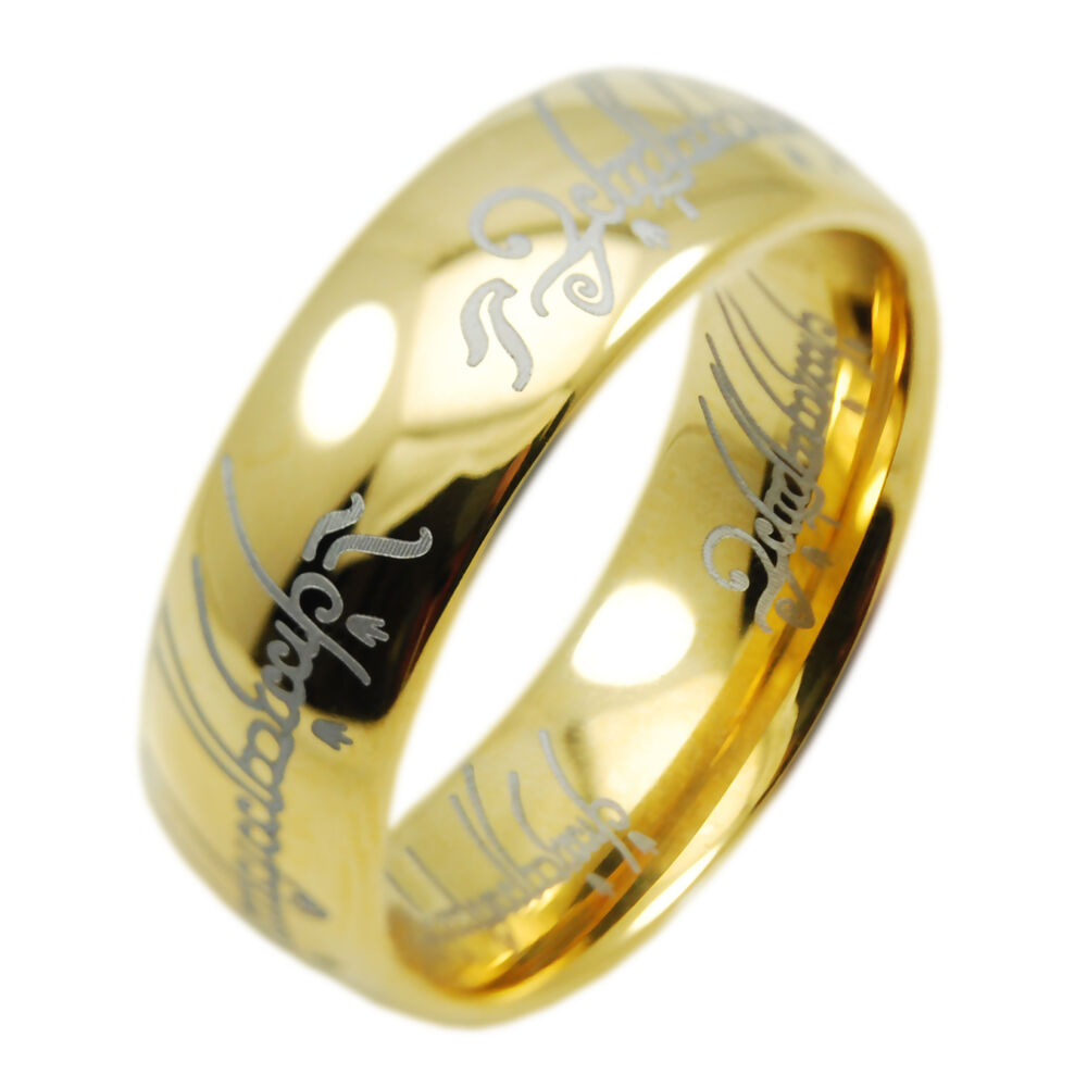 18k gold ip hobbit lord of the rings tungsten carbide one