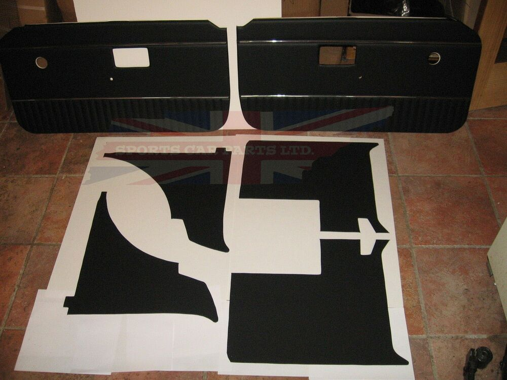 new 6 piece interior panel set with door panels mgb 1970 80 black with chrome ebay