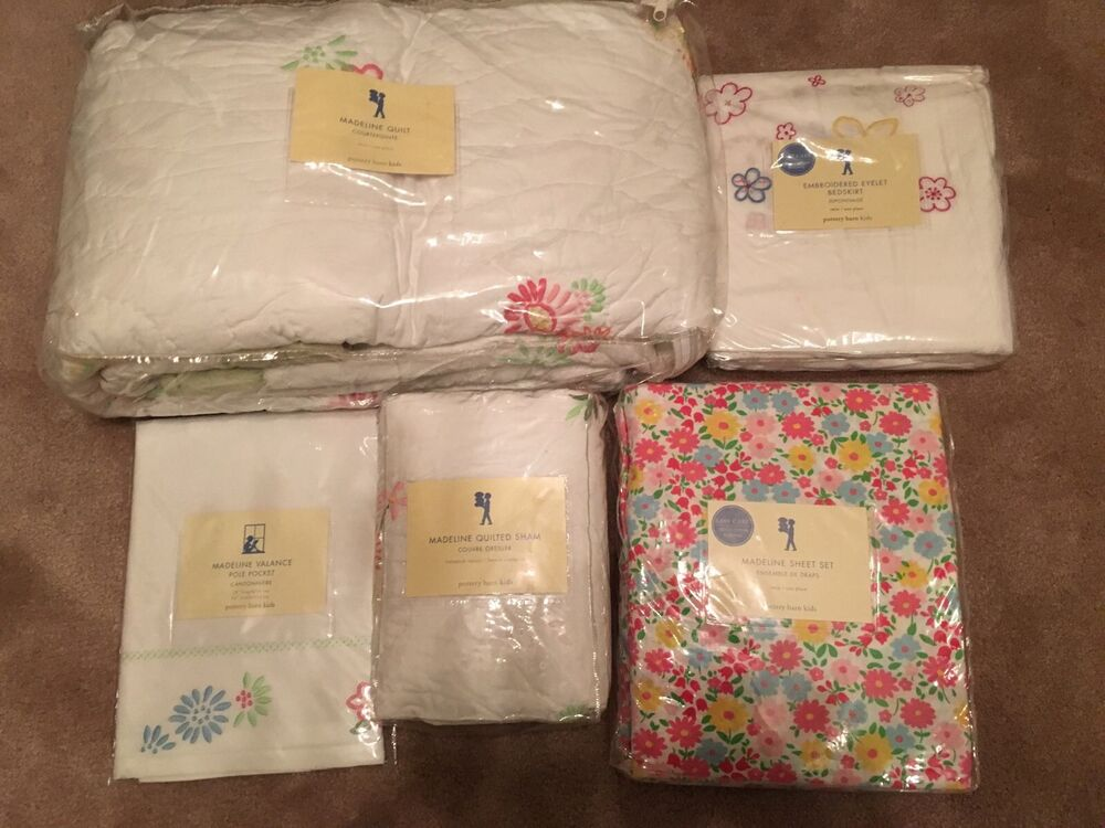 7pc New Pottery Barn Kids Girls Madeline Twin Quilt Set