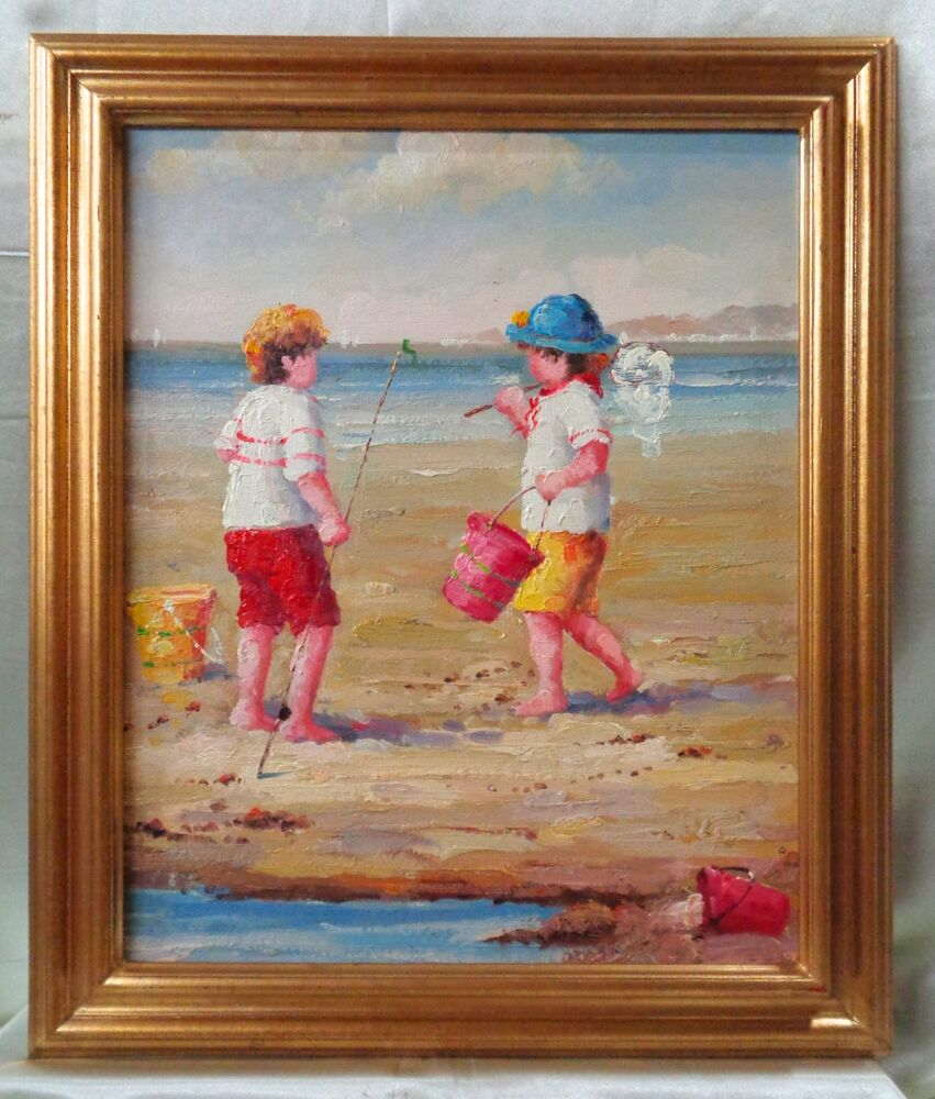 Oil painting on canvas w gold antique style frame kids for Framing canvas paintings