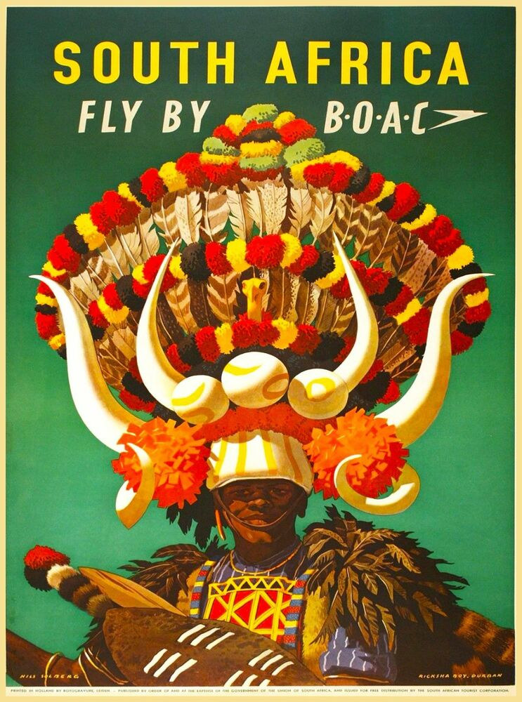 South Africa African Airlines Airplane Vintage Travel