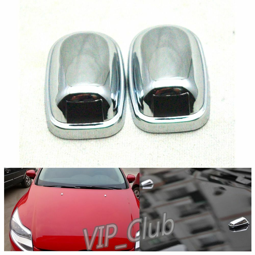 2pcs chrome windshield washer wiper water spray nozzle cover fit ford focus 2012 ebay. Black Bedroom Furniture Sets. Home Design Ideas