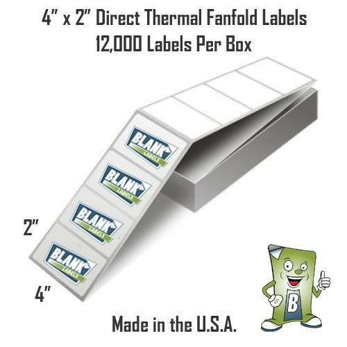 "12000 Fanfold 4"" x 2"" Direct Thermal Labels. Shipping ..."