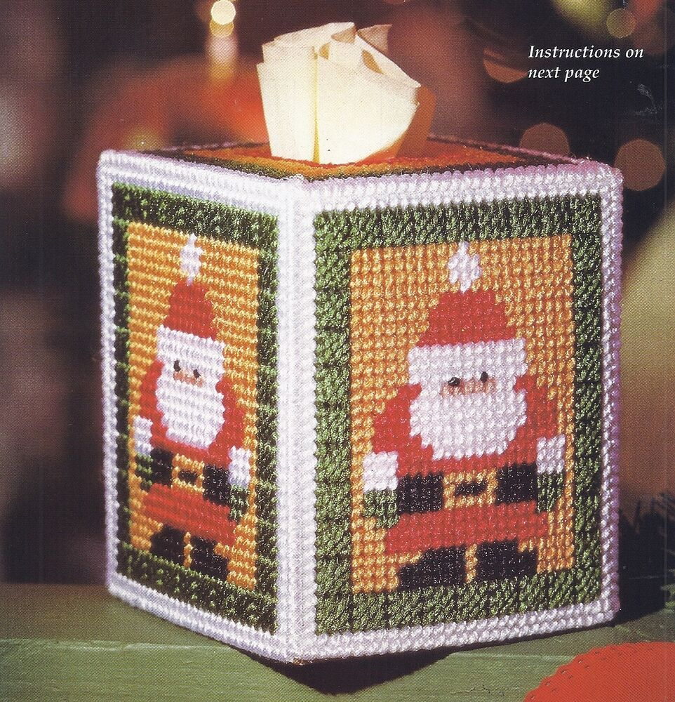 Santa Tissue Cover Pattern Only Plastic Canvas Pattern