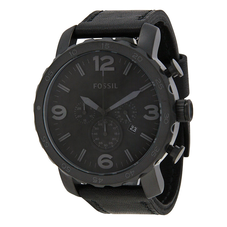 Fossil nate chronograph black ion plated mens watch jr1354 ebay for Fossil watches