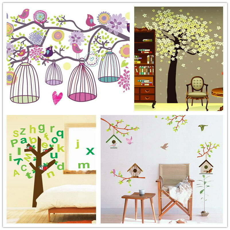 wandtattoo vogelhaus k fig baum abc bl ten vogelk fig cartoon tattoo wandsticker ebay. Black Bedroom Furniture Sets. Home Design Ideas