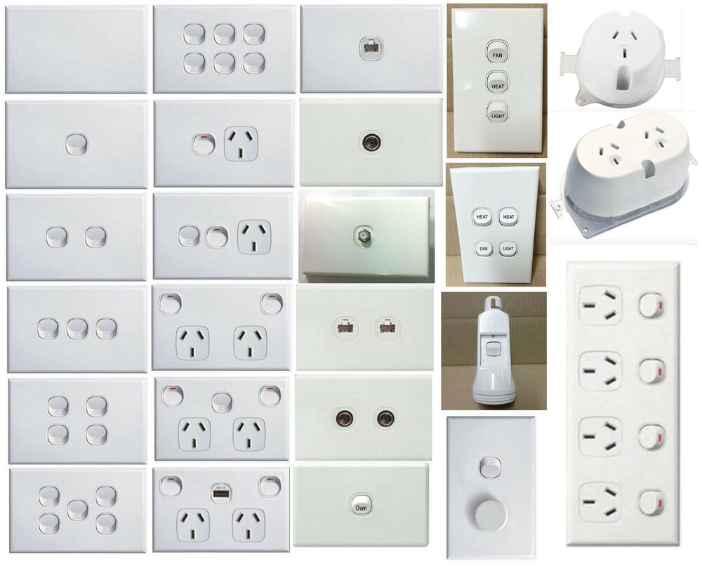 standard wall light switch plate white way mechanism mech gpo outlet socket p. Black Bedroom Furniture Sets. Home Design Ideas