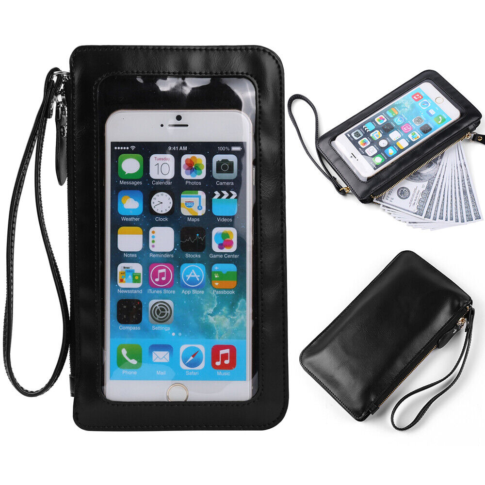 Contact Case: Black PU Leather Carry Pouch Wallet Cross-body Case Bag