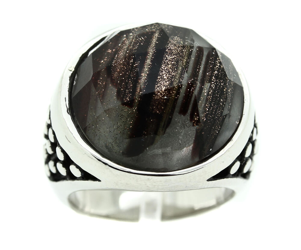 mens stainless steel black round circle stone shiny heavy