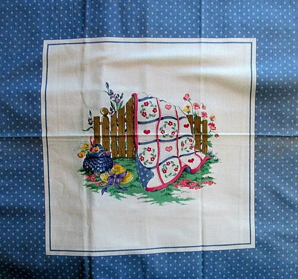 Cotton fabric panel vtg 80s wedgewood blue quilt quilters for Wedgewood designs