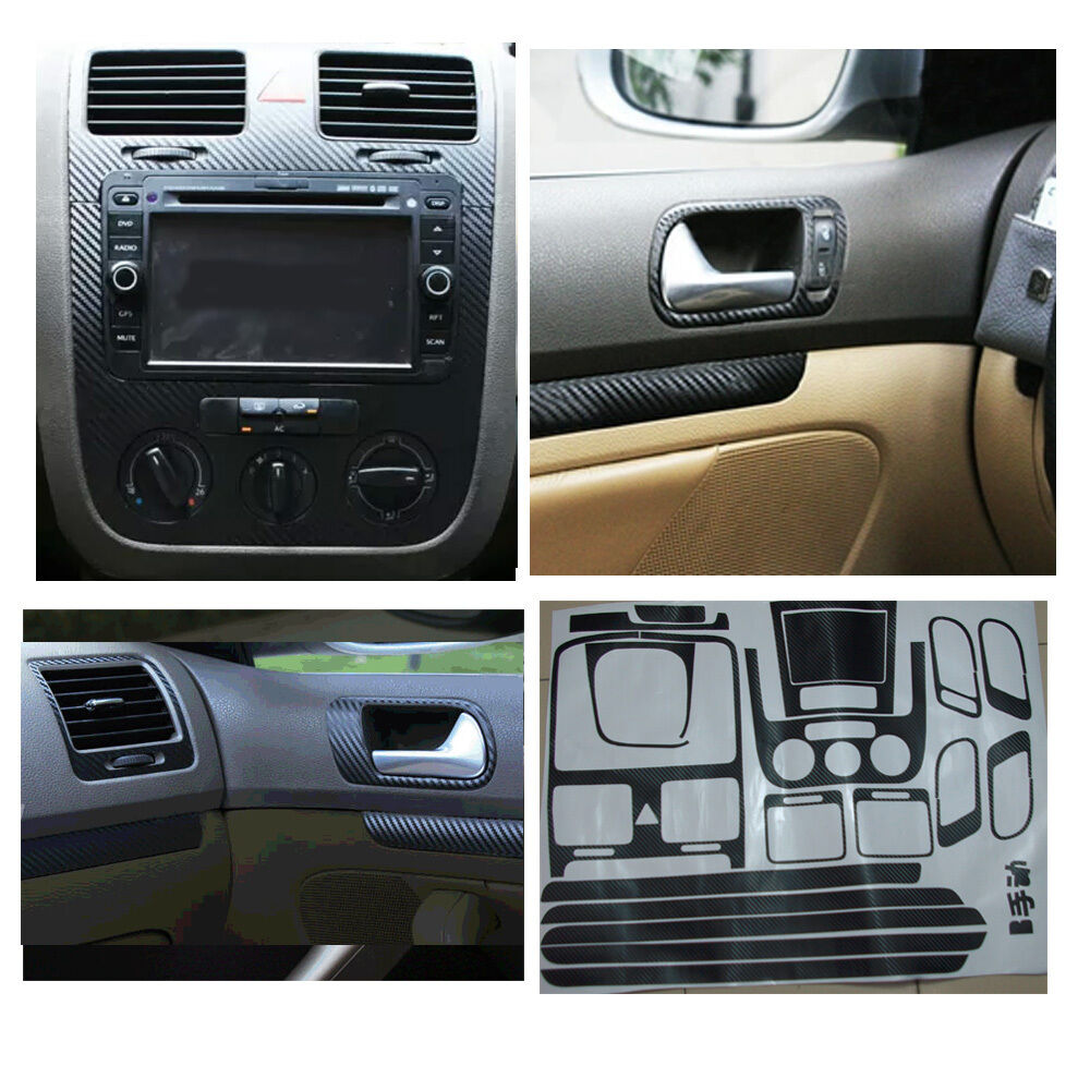 carbon fiber interior sticker set door handle console panel for vw jetta mk5 mt ebay. Black Bedroom Furniture Sets. Home Design Ideas