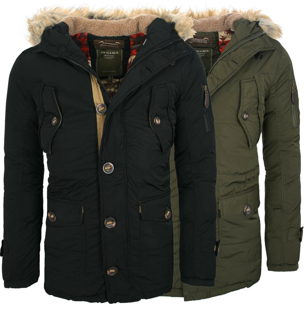 young rich warme gef tterte lange herren winter jacke mantel parka neu jk 419 ebay. Black Bedroom Furniture Sets. Home Design Ideas