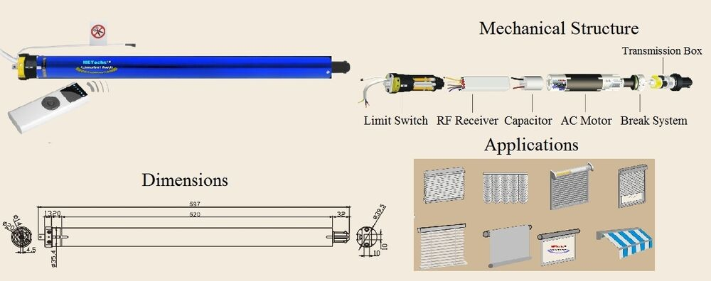 Rf Wireless Remote Tubular Motor Cl835e 0628 For Roller Shades Awnings Screens Ebay