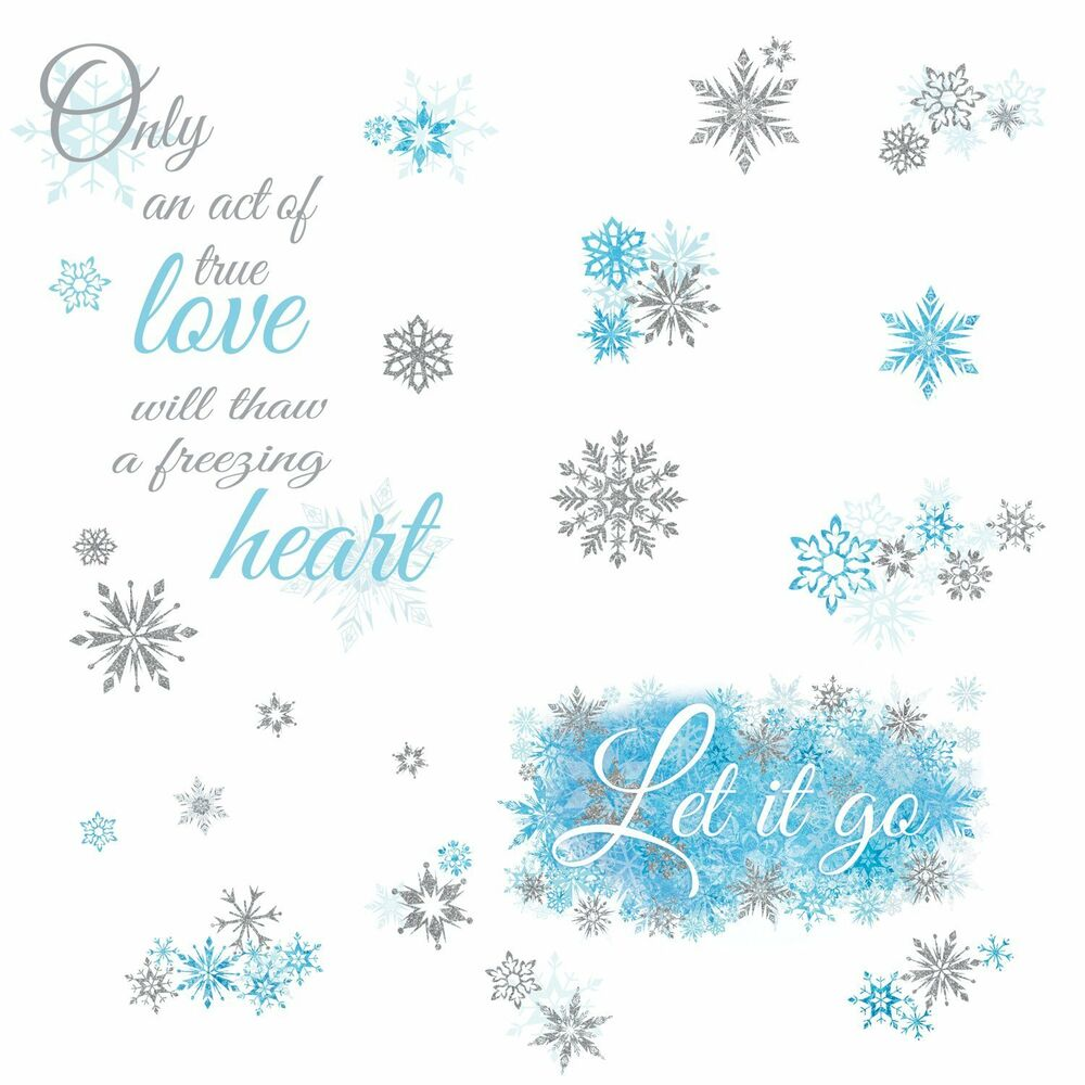 Frozen Let It Go Quote Wall Decals Snowflakes Disney