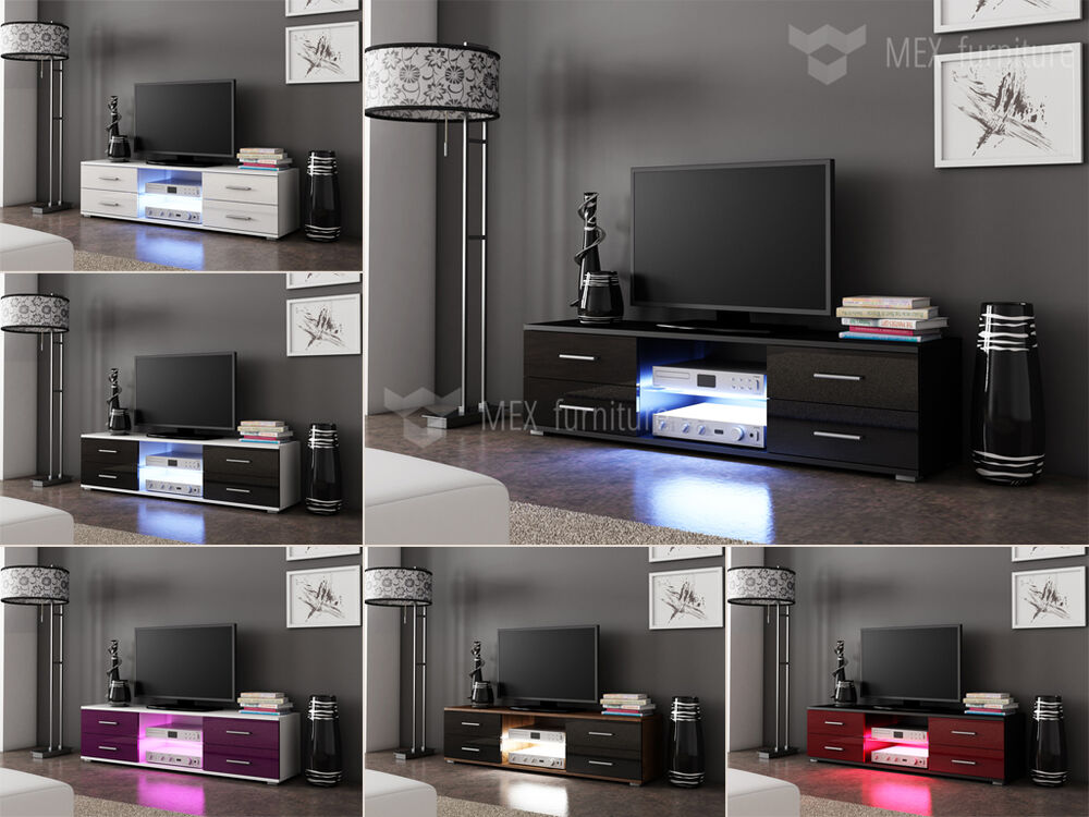 modern tv unit tv cabinet 4 drawers 150cm matt body high gloss fronts led ebay. Black Bedroom Furniture Sets. Home Design Ideas