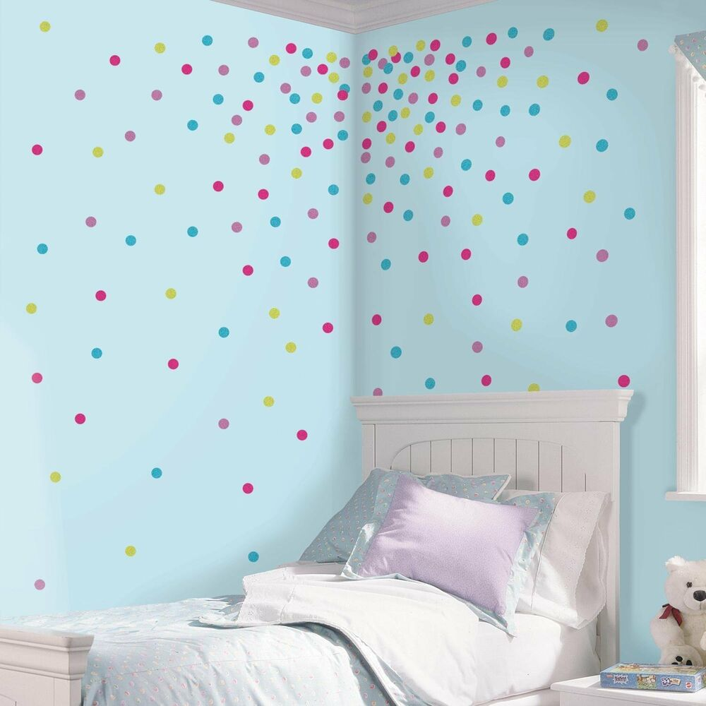 Confetti glitter polka dots 180 wall decals blue pink room for Dots design apartment 8