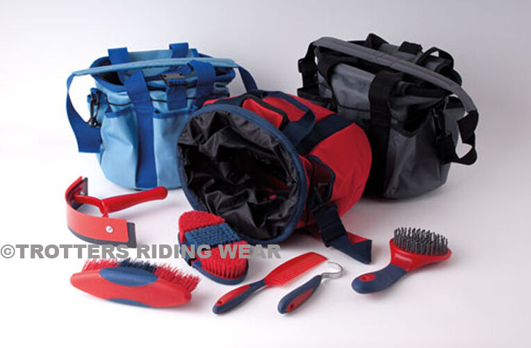 Rhinegold Horse Grooming Kit Bag With 6 Grooming Items Grey Red Blue Ebay