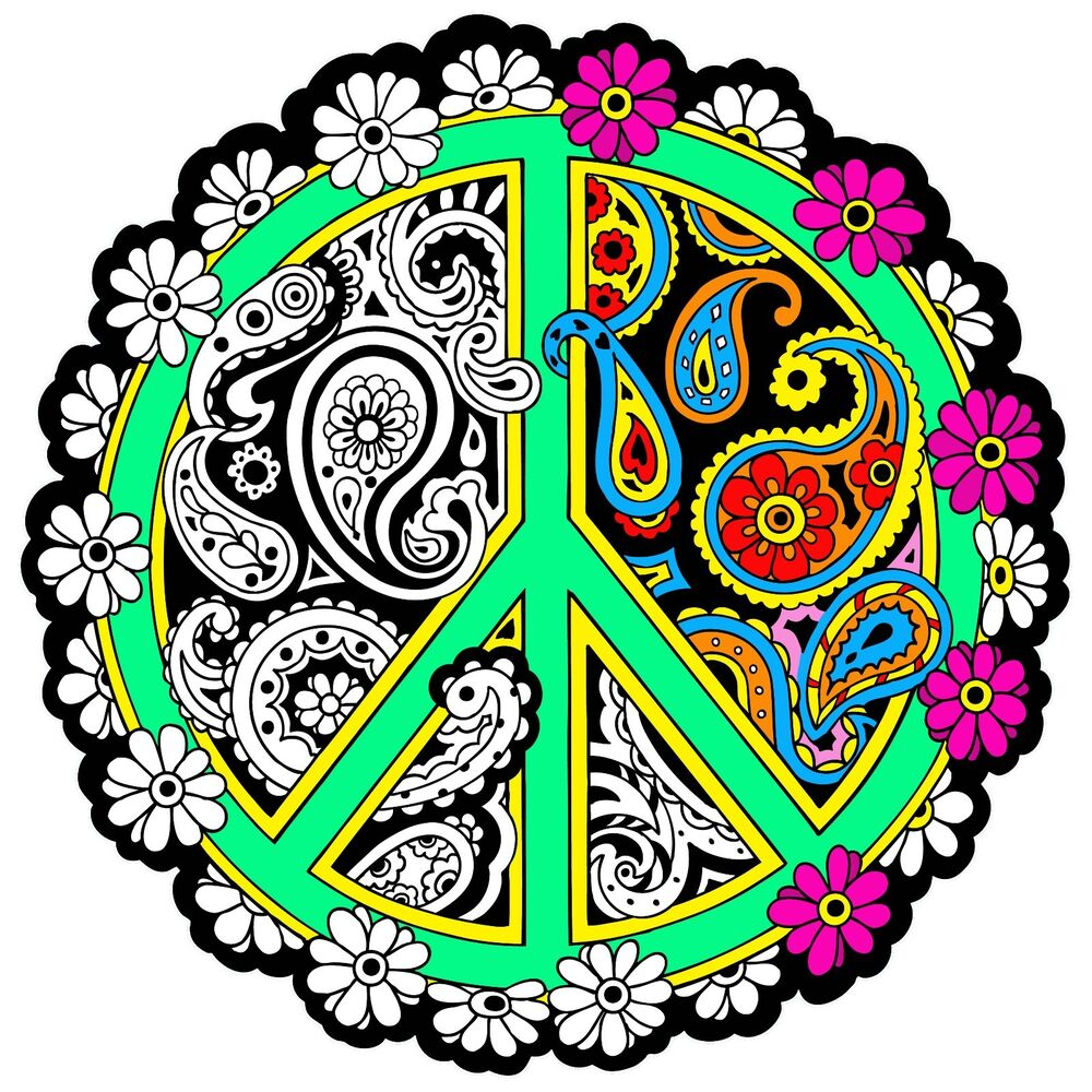Peace mandala large 20x20 inch fuzzy velvet coloring for Peace sign mandala coloring pages