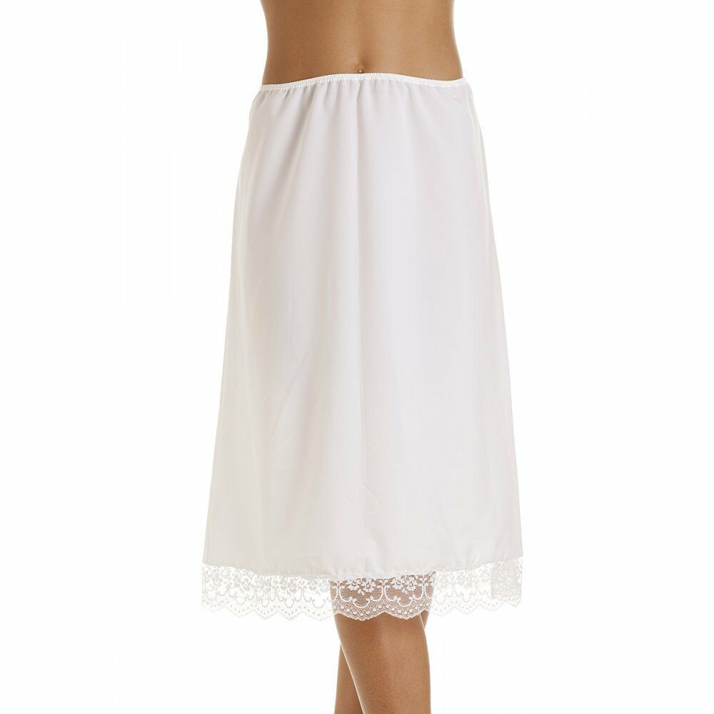 Ladies Black Ivory white waist half slip underskirt petticoat. this attractive half slip has a lovely silky feel and a pretty lace trim around the hem. The waist band is elasticated and available in t.