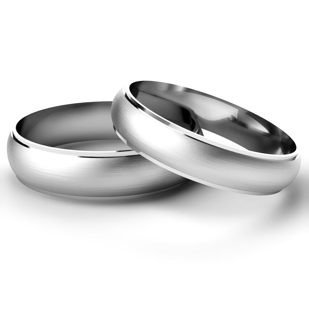 Matching wedding rings his and hers 9ct white gold bands for Gold and white gold wedding rings