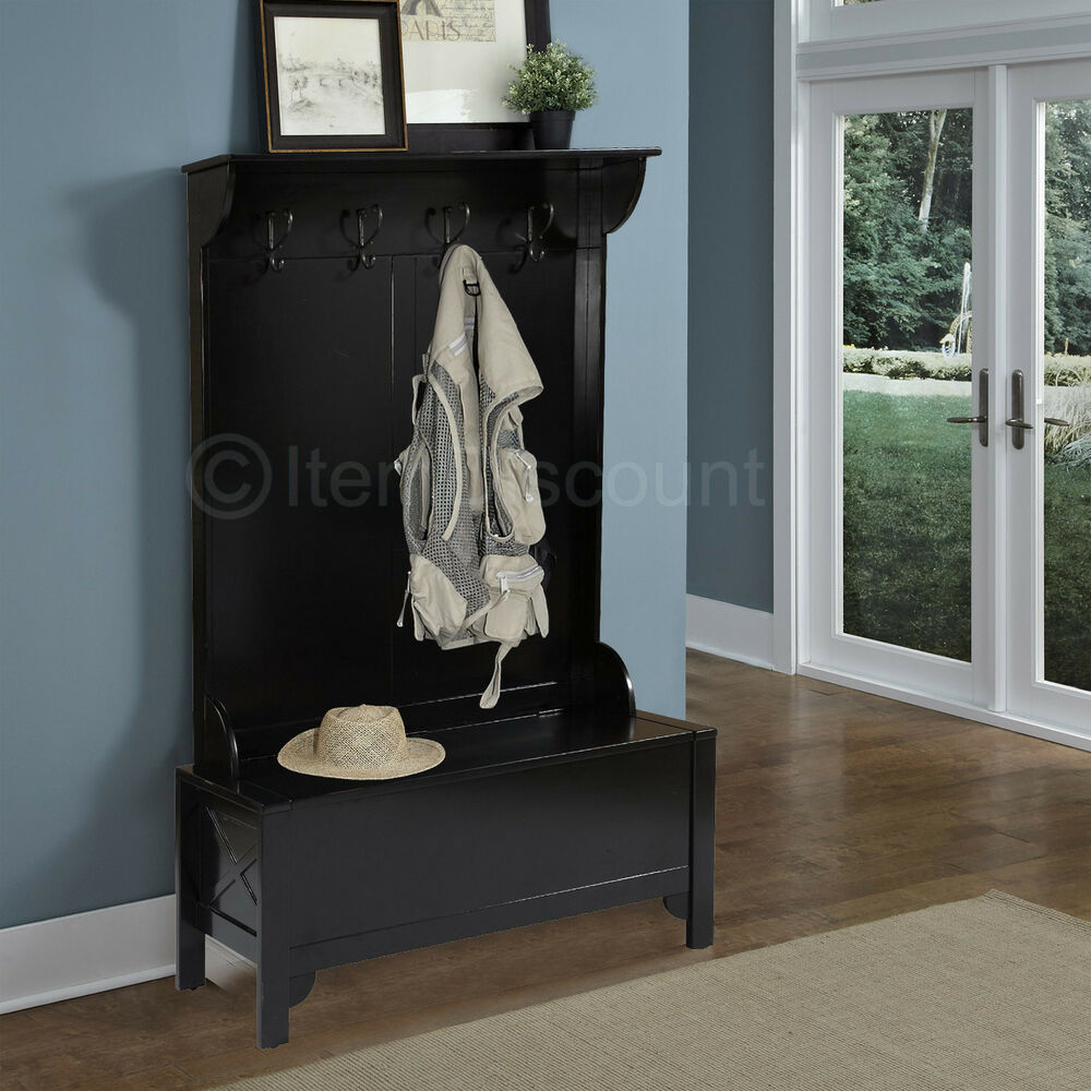 Wood Entryway Mudroom Hall Tree Shoe Storage Bench Hat