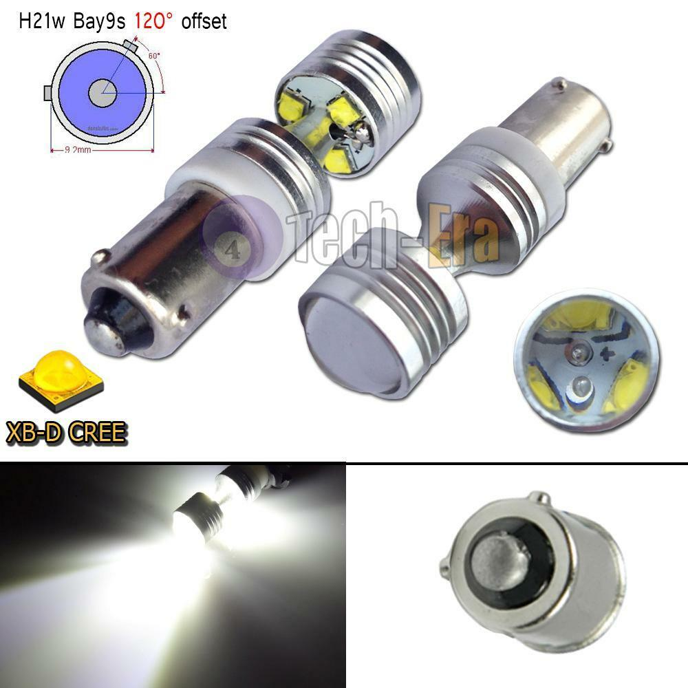 2pcs High Power 30W Xenon White 120° Bay9s H21W 64136 CREE