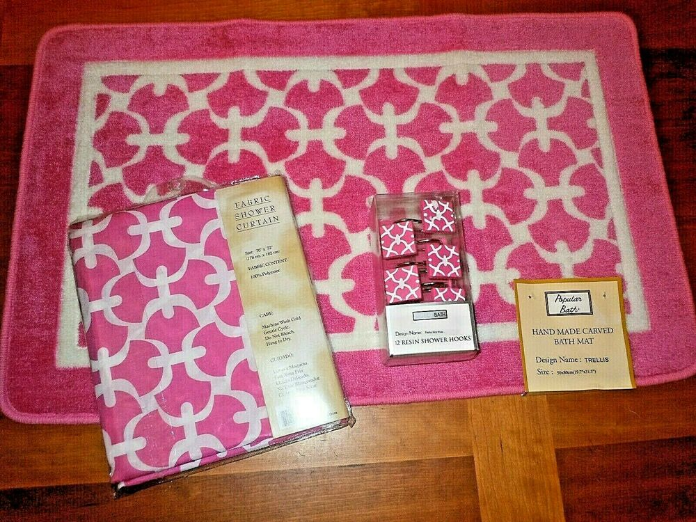 14pc Bath Set Pink Trellis Shower Curtain Matching Rug Mat