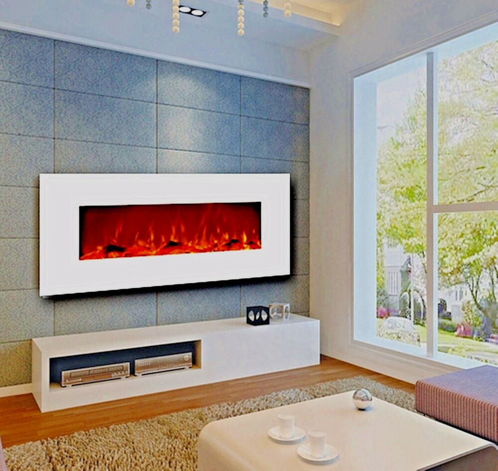 50 electric fireplace wall mounted white w heat 400 sq ft. Black Bedroom Furniture Sets. Home Design Ideas