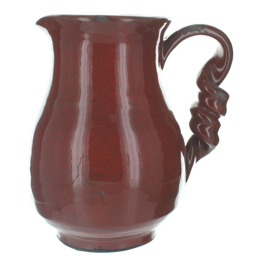 curly handle shabby chic red ceramic jug vase ebay. Black Bedroom Furniture Sets. Home Design Ideas