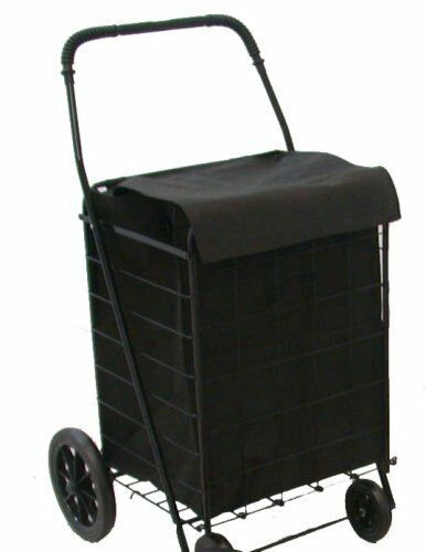 Folding shopping cart basket rubber wheels laundry grocery travel free blk liner ebay - Collapsible laundry basket with wheels ...