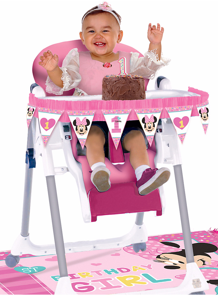 Baby girl first birthday chair decorating kit minnie mouse for 1st birthday girl decoration